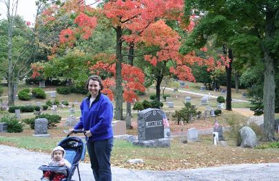 In the Sleepy Hollow Cemetery.  We didn't see as much color as we wanted, although this tree was red.