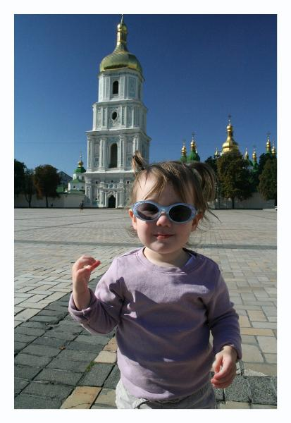 Audrey in her cool shades with St. Sophia's in the background.  She doesn't realize what a cool backdrop she has.