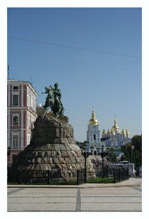St. Michael's and the statue to Khmelnitsky (the cossack leader of the uprising against the Poles).