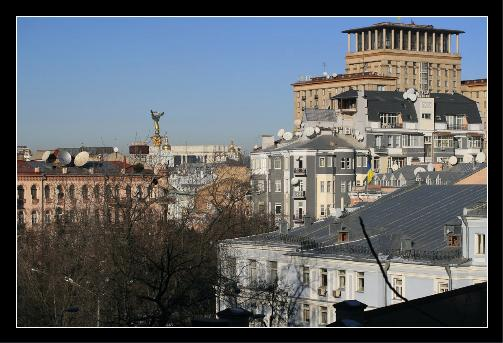 The view of downtown Kyiv from the white house.
