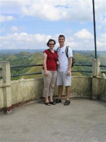 The Chocolate Hills.  Green here, they turn chocolatey brown during the dry season.