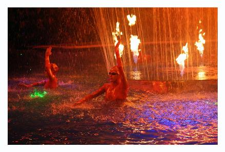 During every act they had synchronized swimmers in the water dancing to the music.