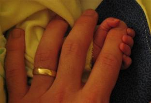 Holding the baby's hand. Can you tell whose is whose?