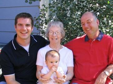 Four generations of Kochs...  Grandma, Father, Son, and Baby