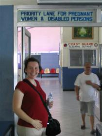 Laura got to use the Priority Lane, because she was pregnant.