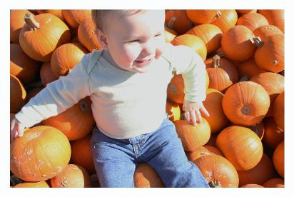 We sat Audrey on the mound of little pumpkins and took a lot of pictures.  The funny part was, we weren't the only ones who subjected their offspring to such treatment!