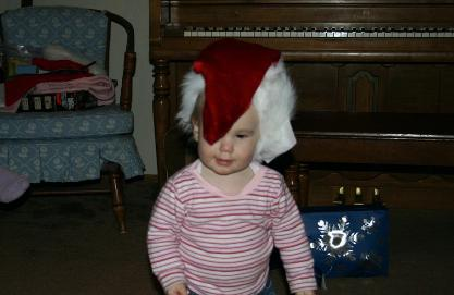 Audrey likes putting things on her head.  This was my stocking.